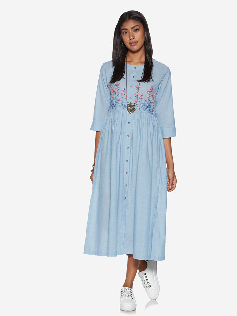 Bombay Paisley Blue Fit-And-Flare Dress