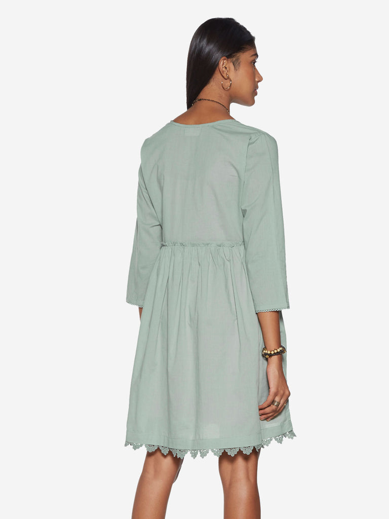 Bombay Paisley Sage-Green Fit-And-Flare Dress