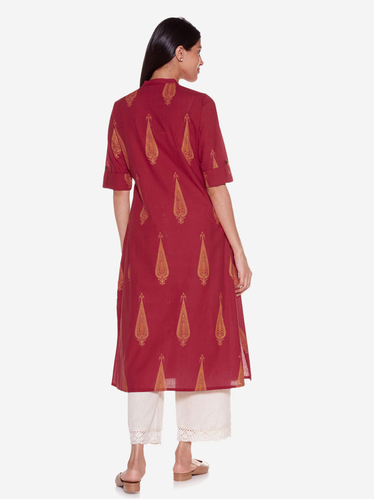 Utsa Red A-Line Pure Cotton Ethnic Print Kurta