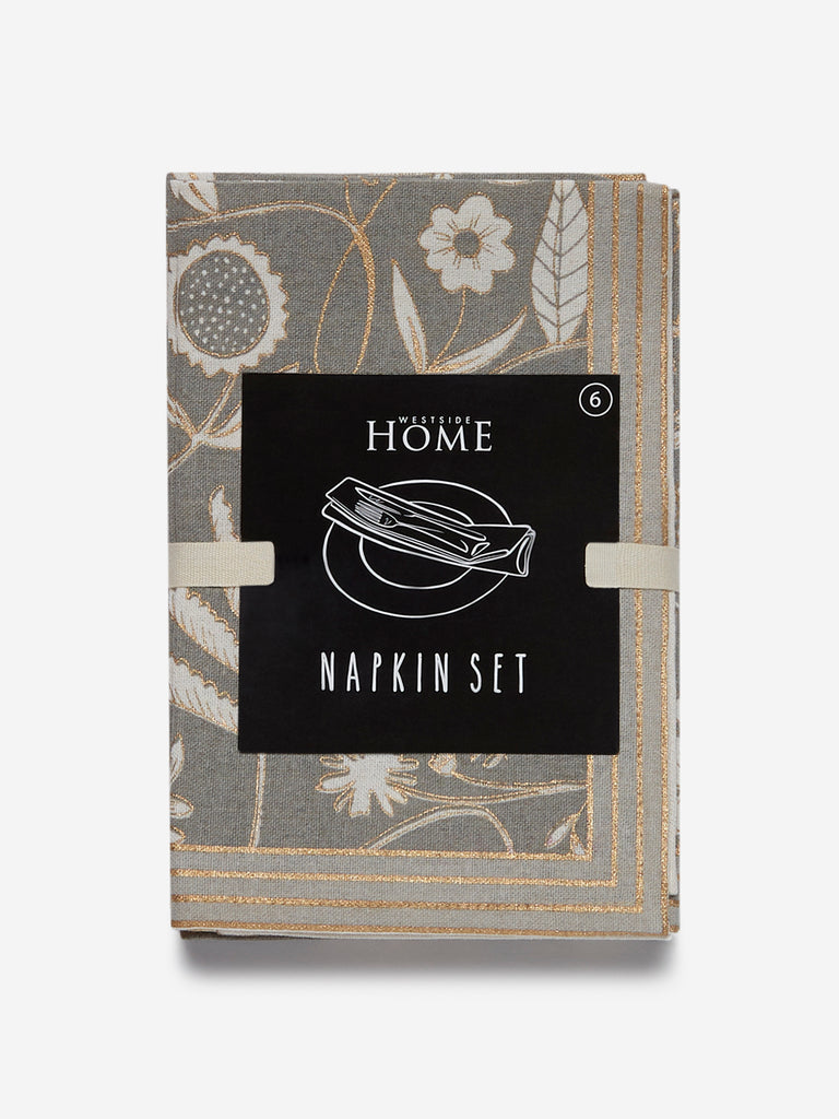 Westside Home Grey Printed Napkins Set Of Six