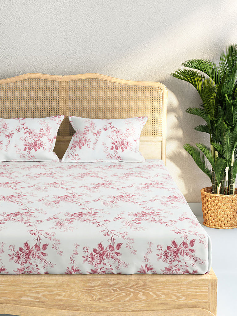 Westside Home Dark Pink And White 210 TC Sateen Double Bedsheet With Two Pillowcases