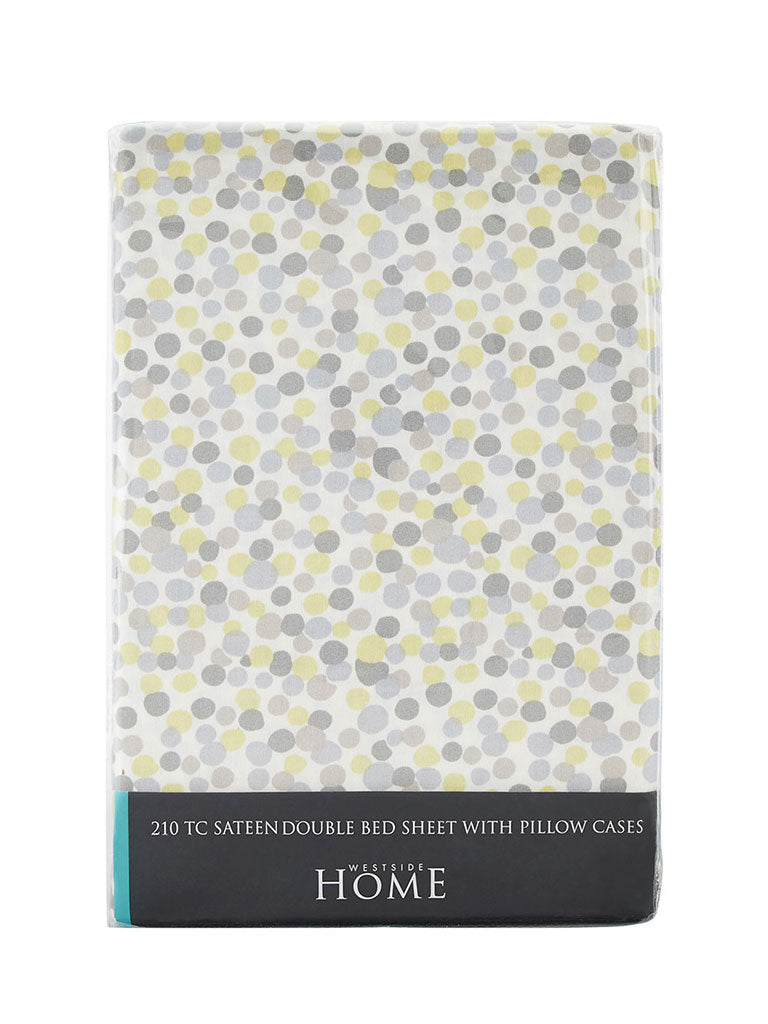 Westside Home Multicolour Dot Printed Double Bedsheet With Two Pillowcases