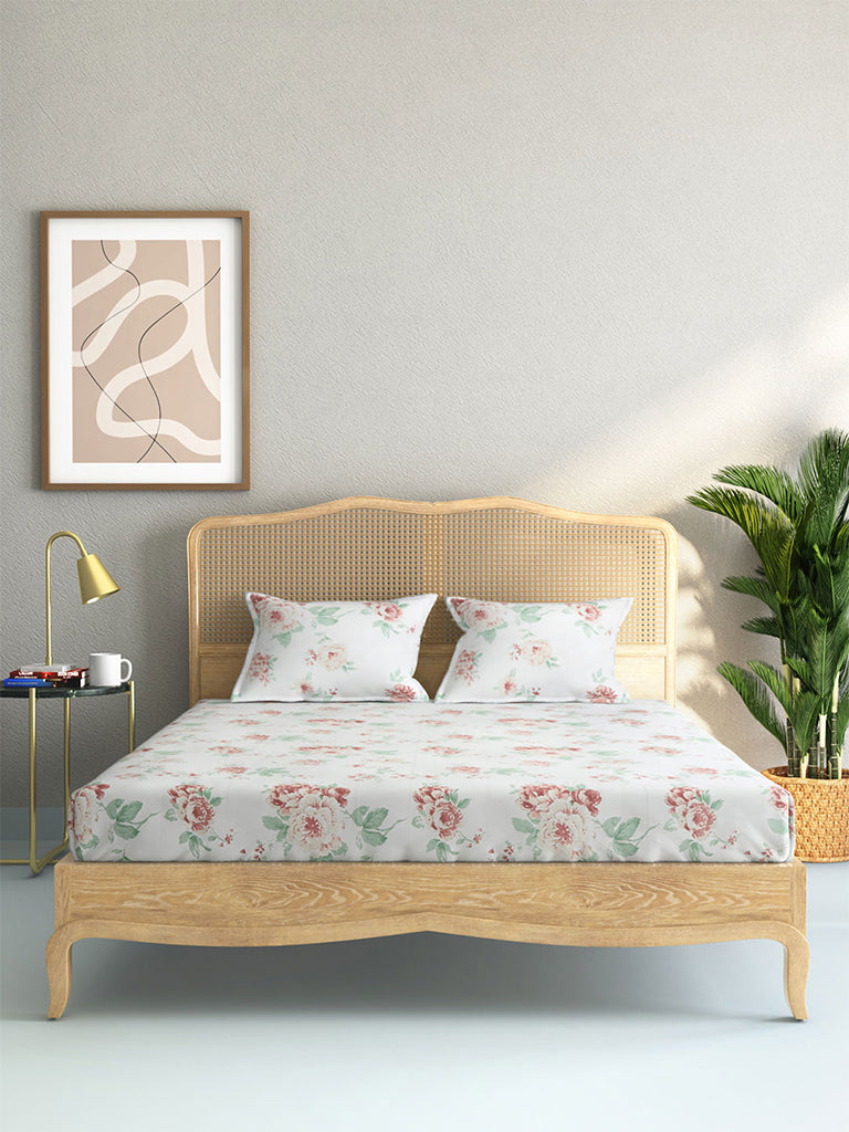 Westside Home Multicolour Floral Print Pure Cotton Double Bedsheet With Two Pillowcases