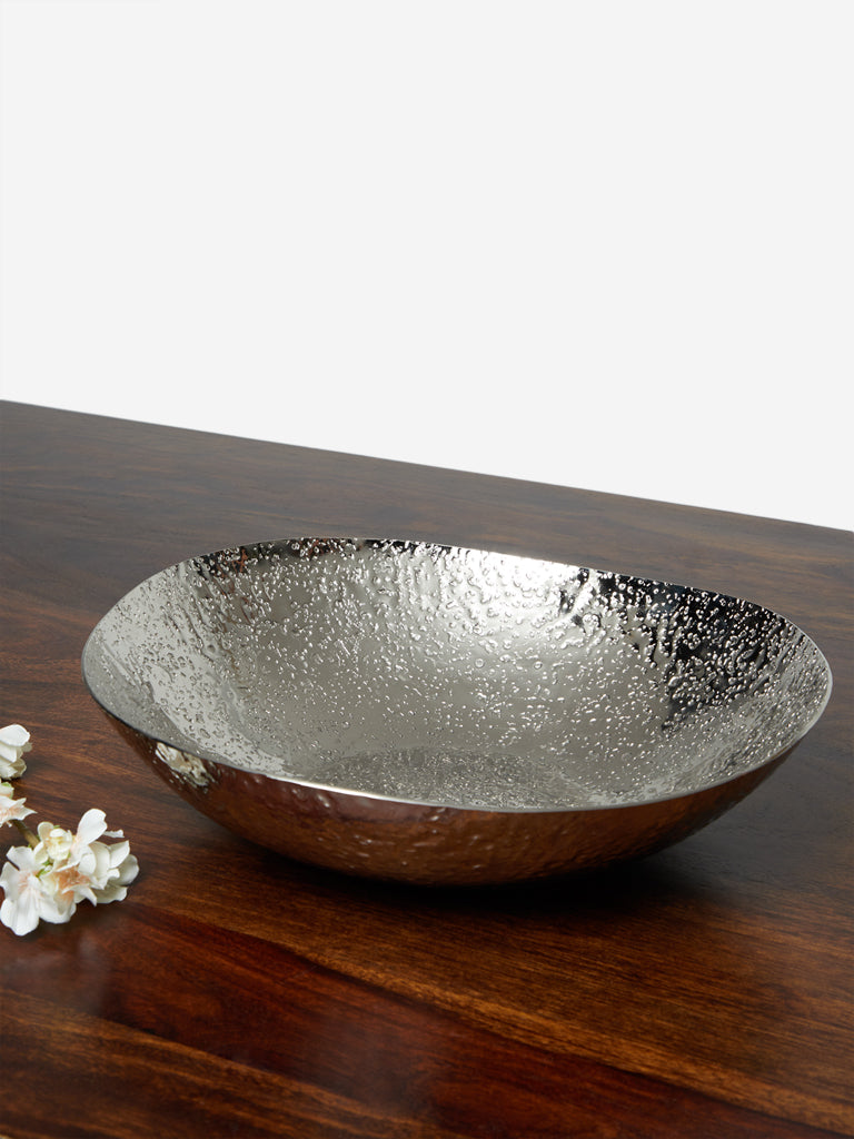 Westside Home Silver Large Textured Circular Platter