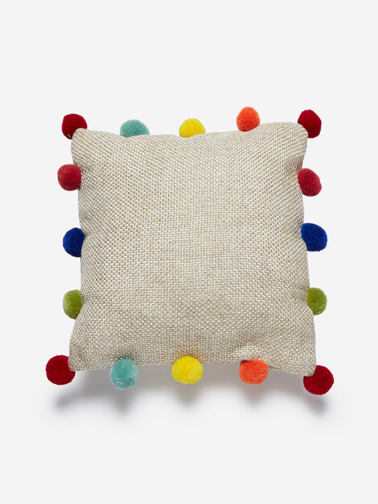 Westside Home Beige Pom-Pom Detailed Cushion Cover