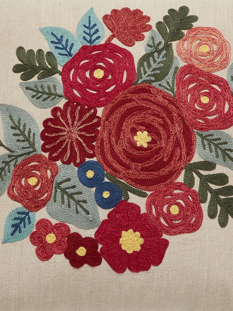 Westside Home Multicolour Floral Embroidery Cushion Cover