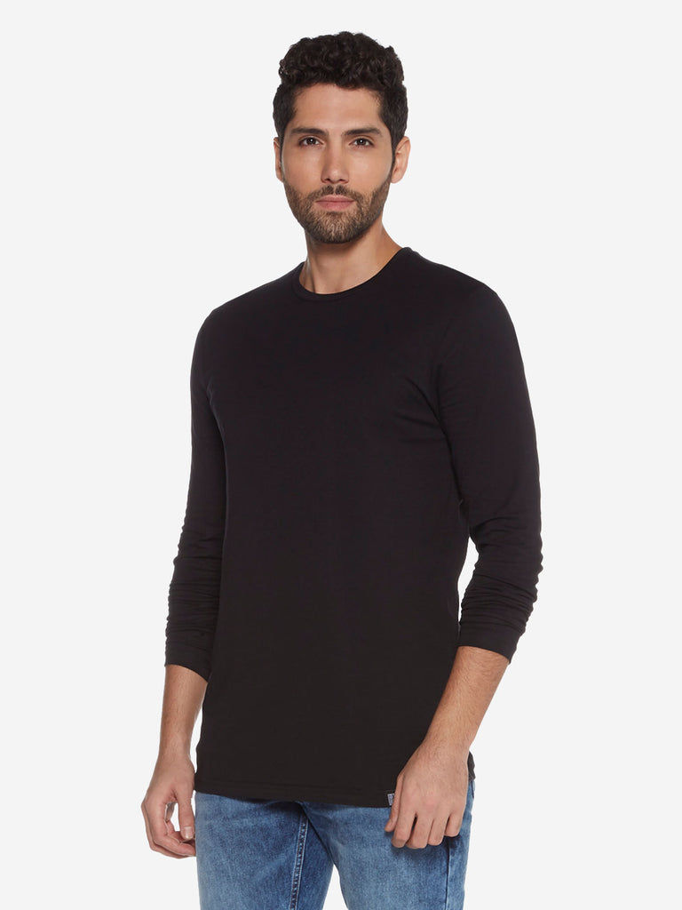 Nuon Black Slim Fit Crewneck T-Shirt
