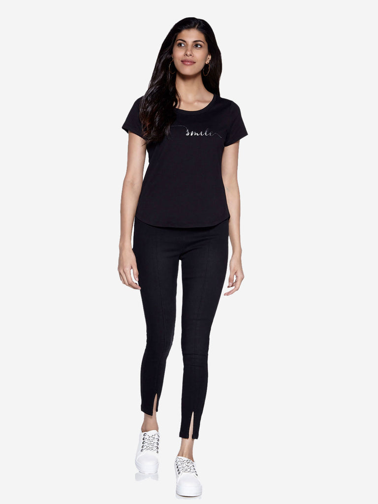 LOV Black Text Print Sherry T-Shirt