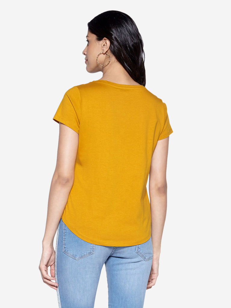 LOV Mustard Text Print Sherry T-Shirt