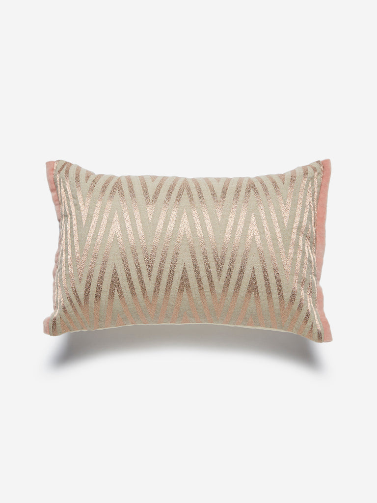 Westside Home Rose Gold Chevron Print Cushion Cover