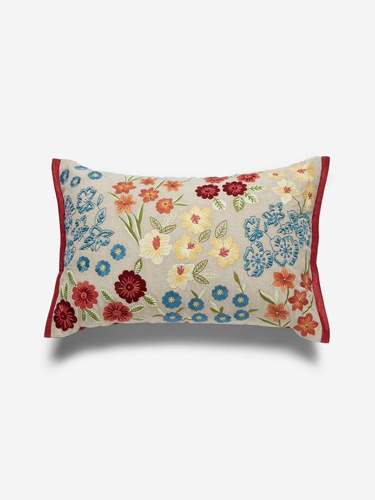 Westside Home Multicoloured Floral Embroidered Cushion Cover