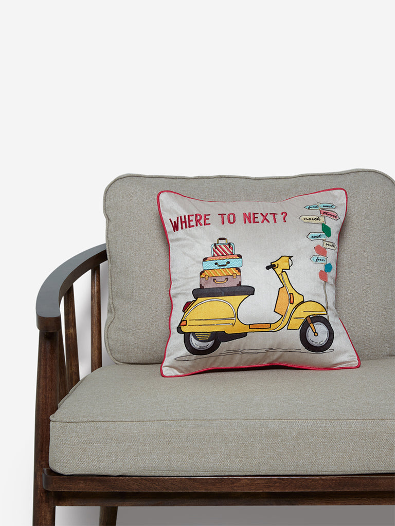 Westside Home Multicolour Scooter Embroidered Cushion Cover