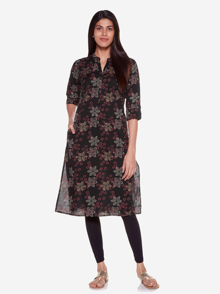 Utsa Black Straight Pure Cotton Floral Kurta