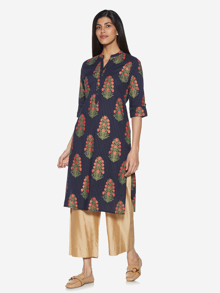 Utsa Indigo Floral Patterned Straight Kurta