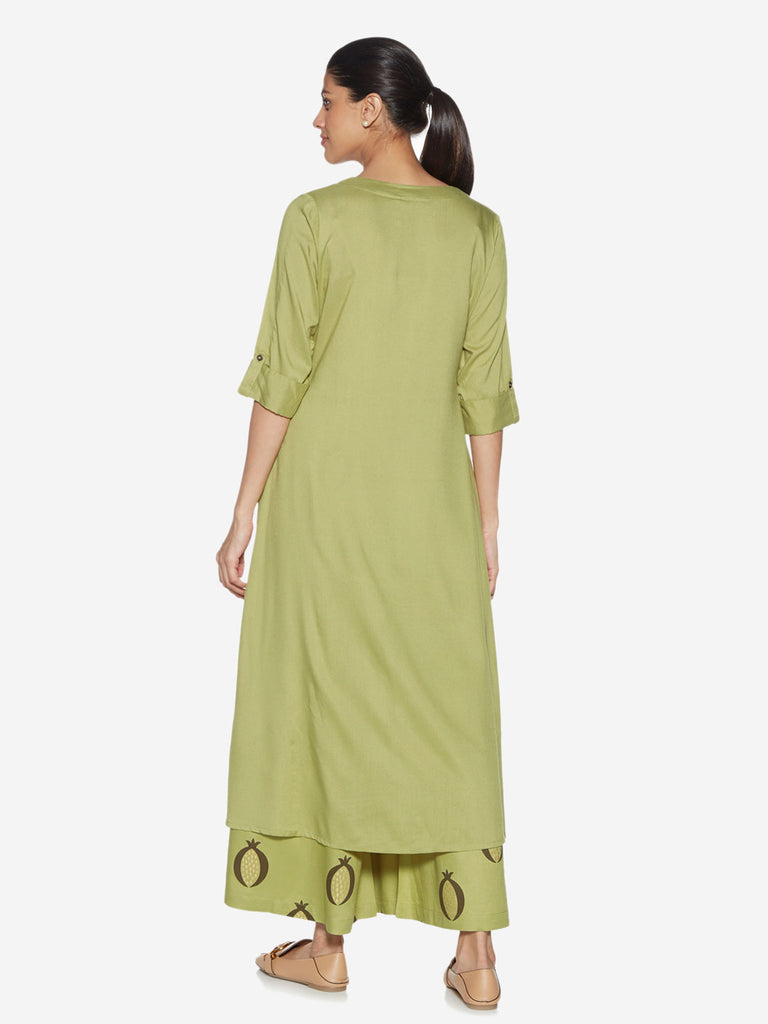 Utsa Green Solid High-Low Kurta