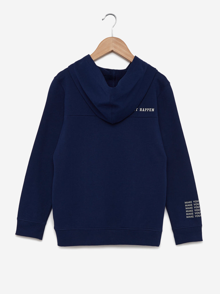 Y&F Kids Navy Printed Hooded T-Shirt