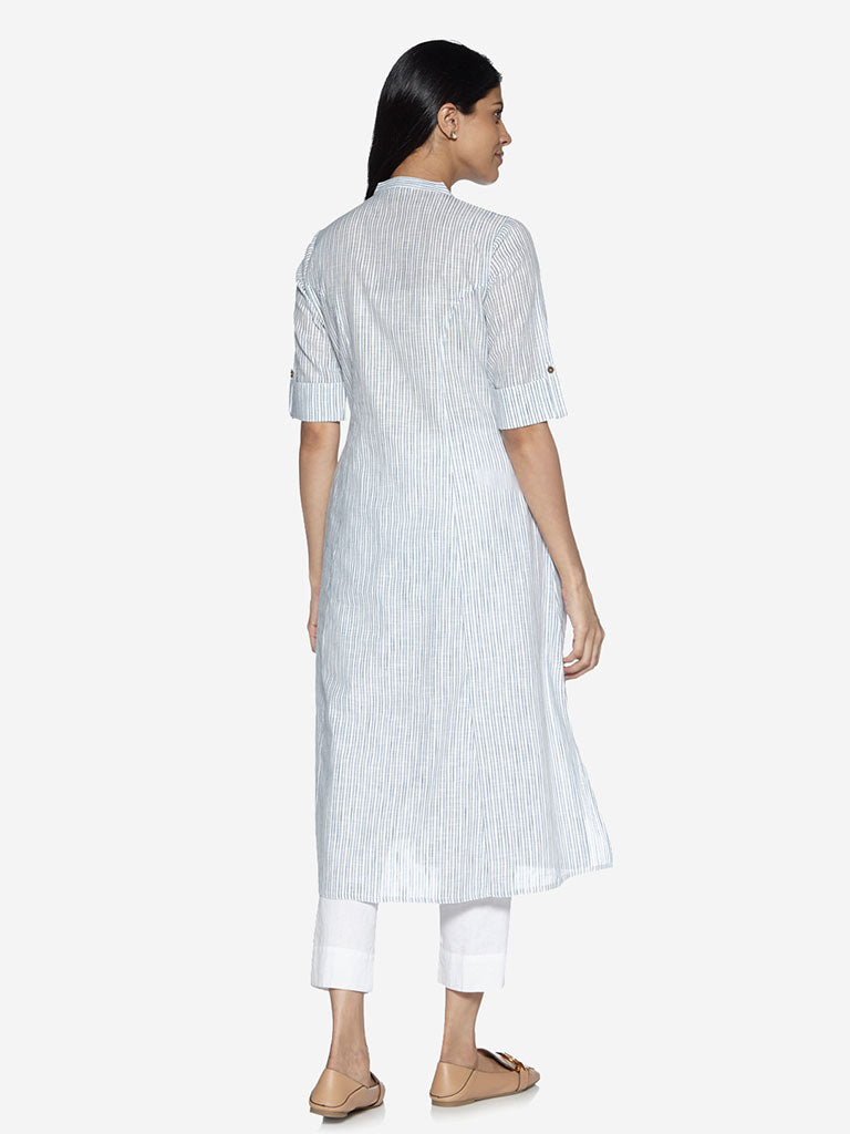 Utsa Off-White Striped A-Line Kurta