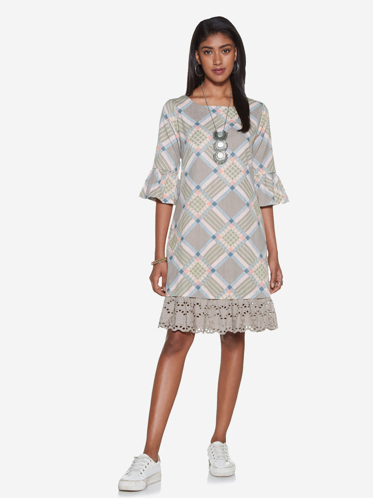 Bombay Paisley Grey Geometrical Print Dress