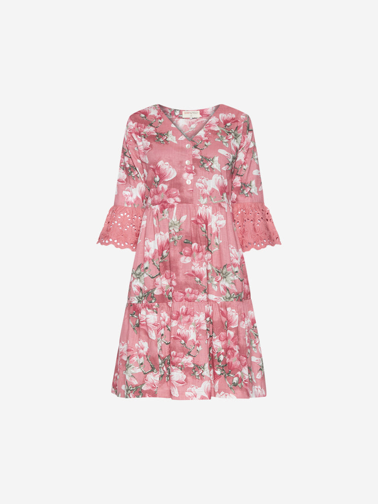Bombay Paisley Pink Floral Fit-And-Flare Dress