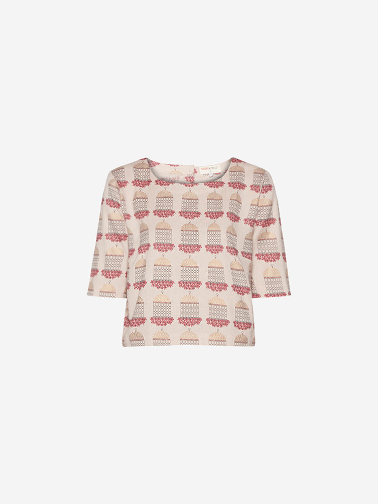 Bombay Paisley Light Pink Printed Crop-Top