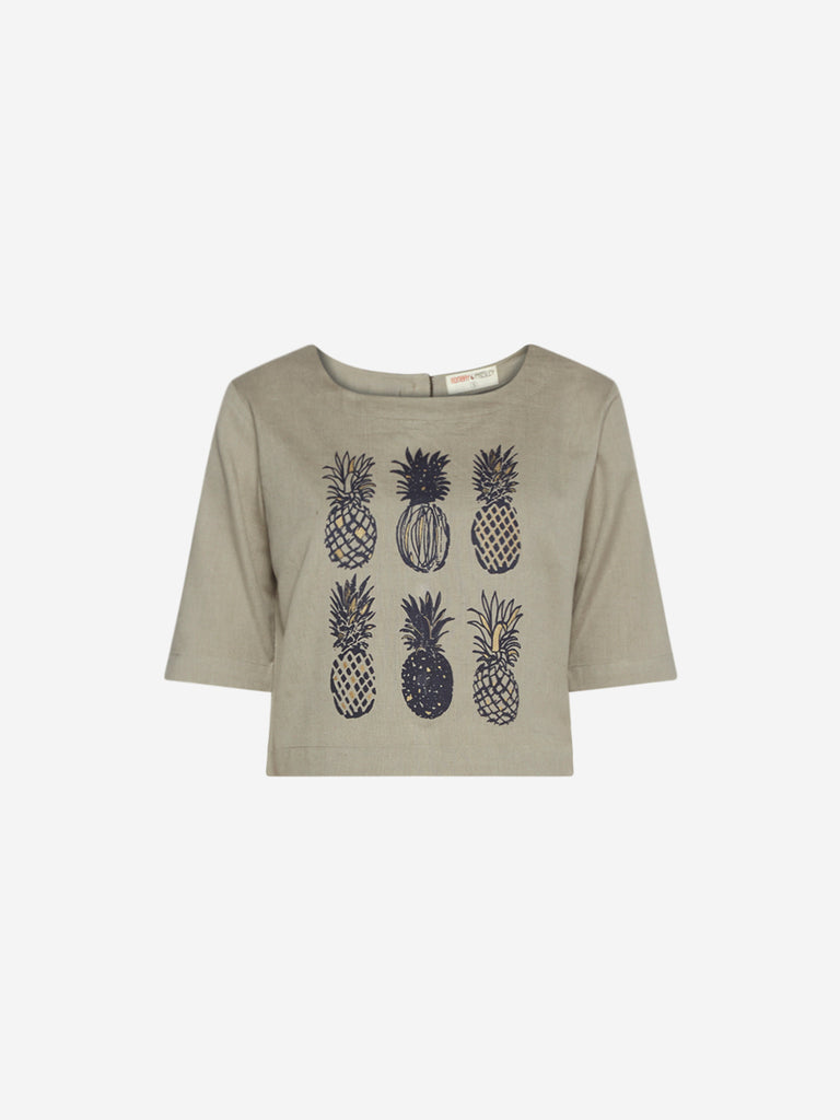 Bombay Paisley Grey Pineapple Print Crop-Top