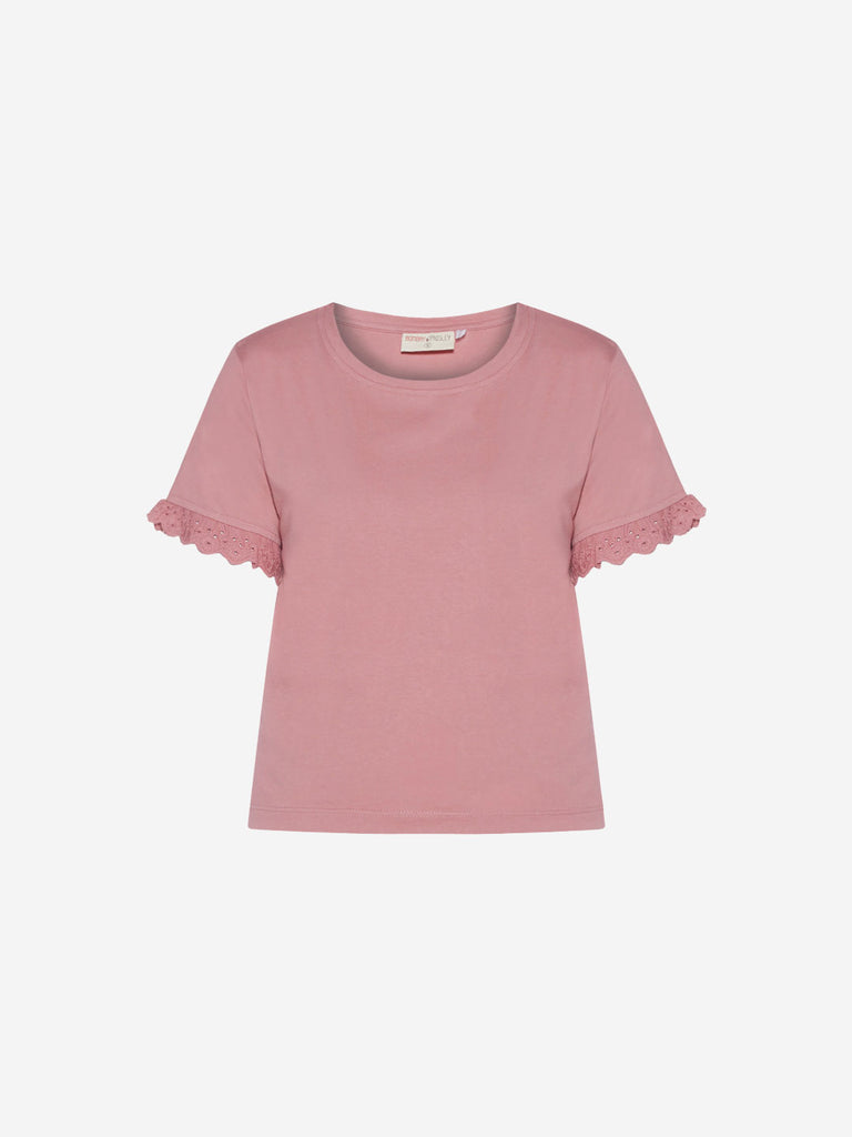 Bombay Paisley Dull Pink Broderie Anglaise Top
