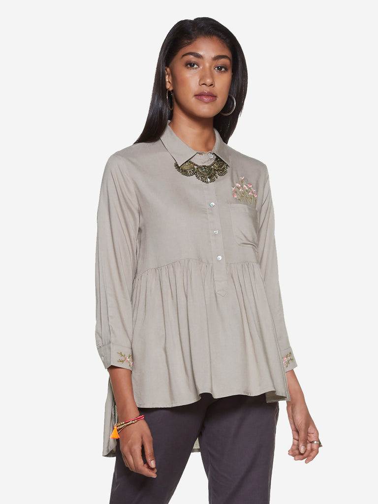 Bombay Paisley Grey High-Low Blouse
