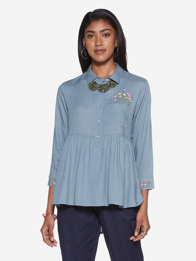 Bombay Paisley Blue High-Low Blouse