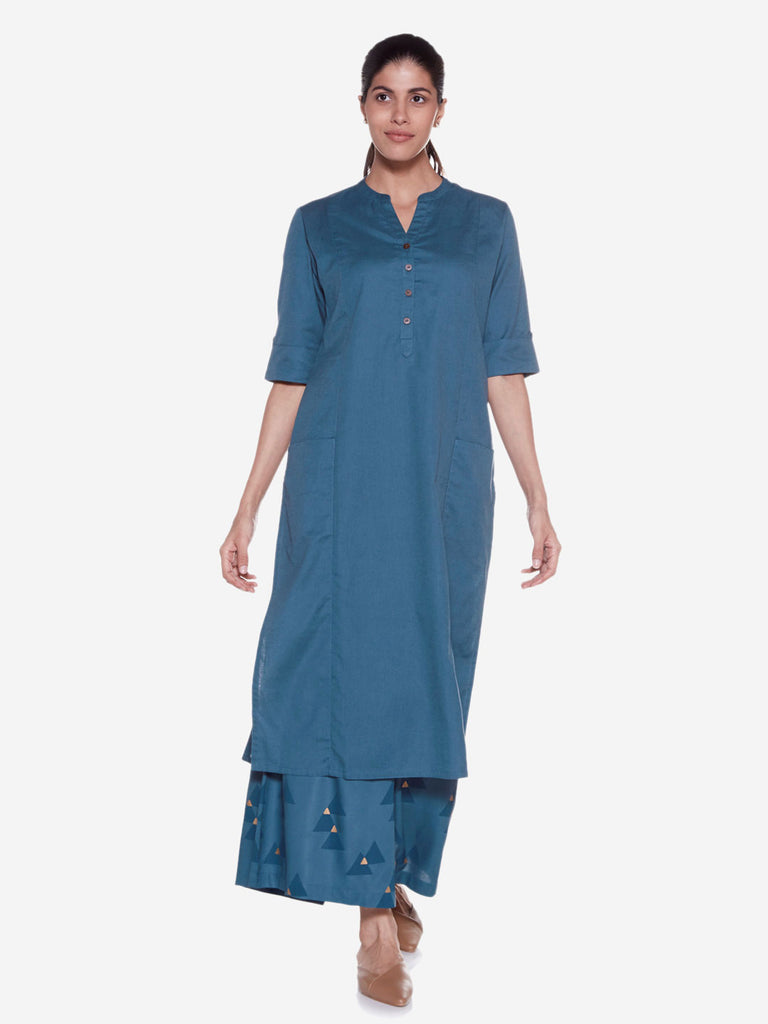 Utsa Teal Cotton-Linen Straight Kurta
