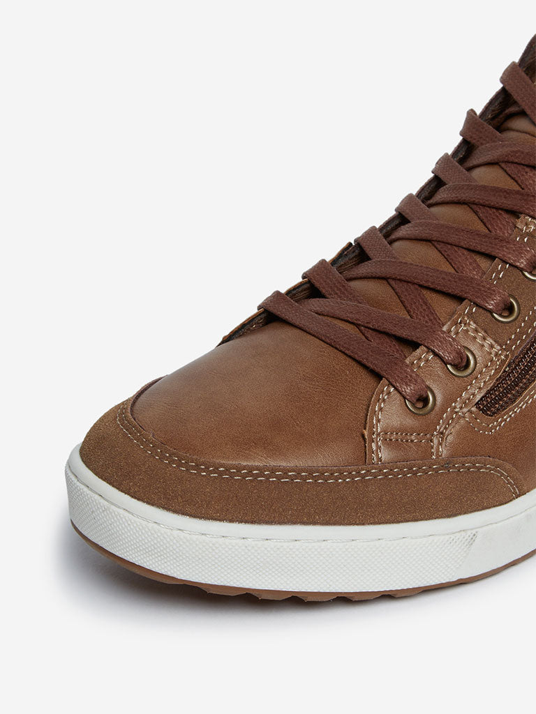 SOLEPLAY Tan Zippered High-Top Sneakers