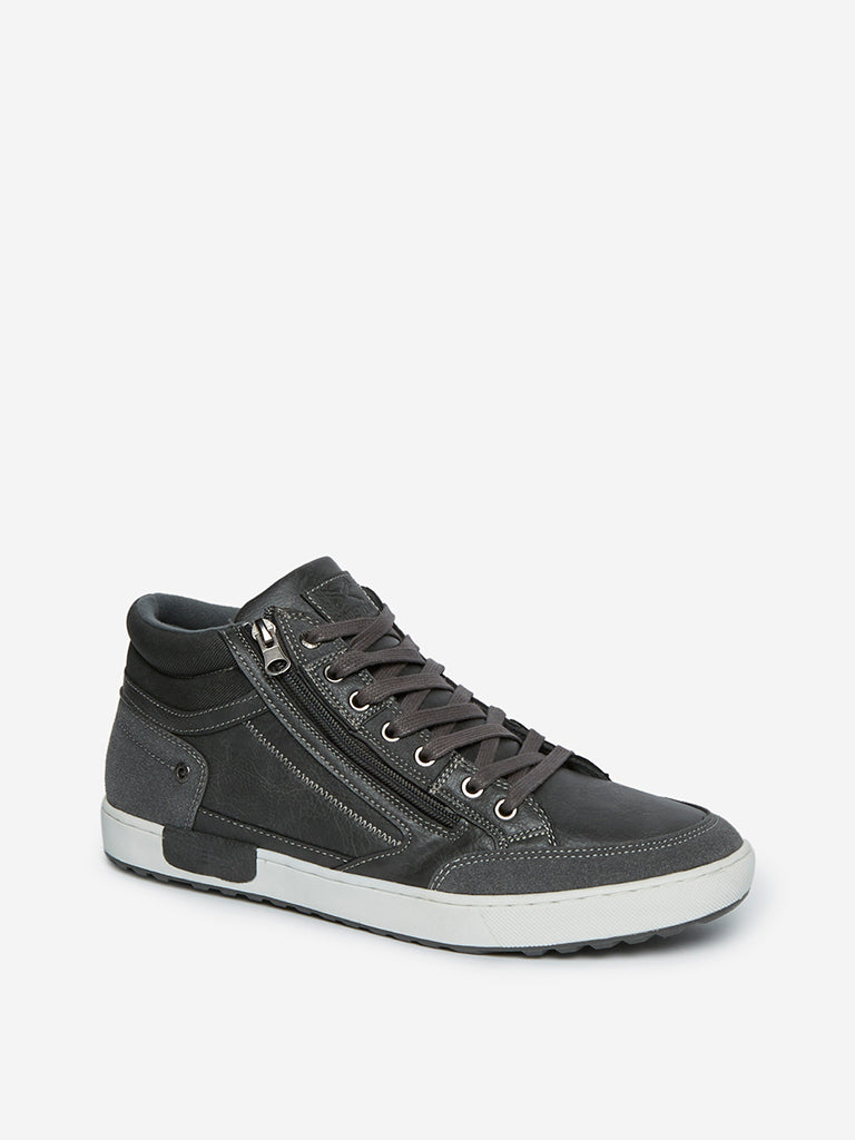 SOLEPLAY Grey Zippered High-Top Sneakers