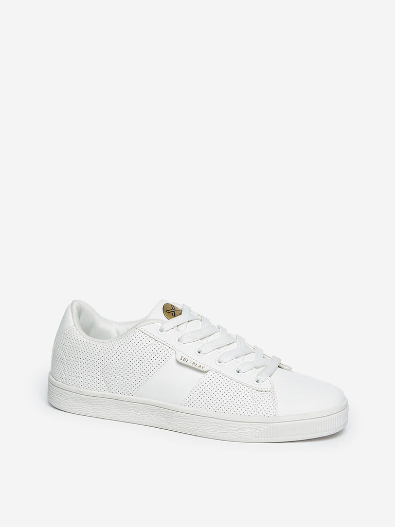 SOLEPLAY White Perforated Sneakers