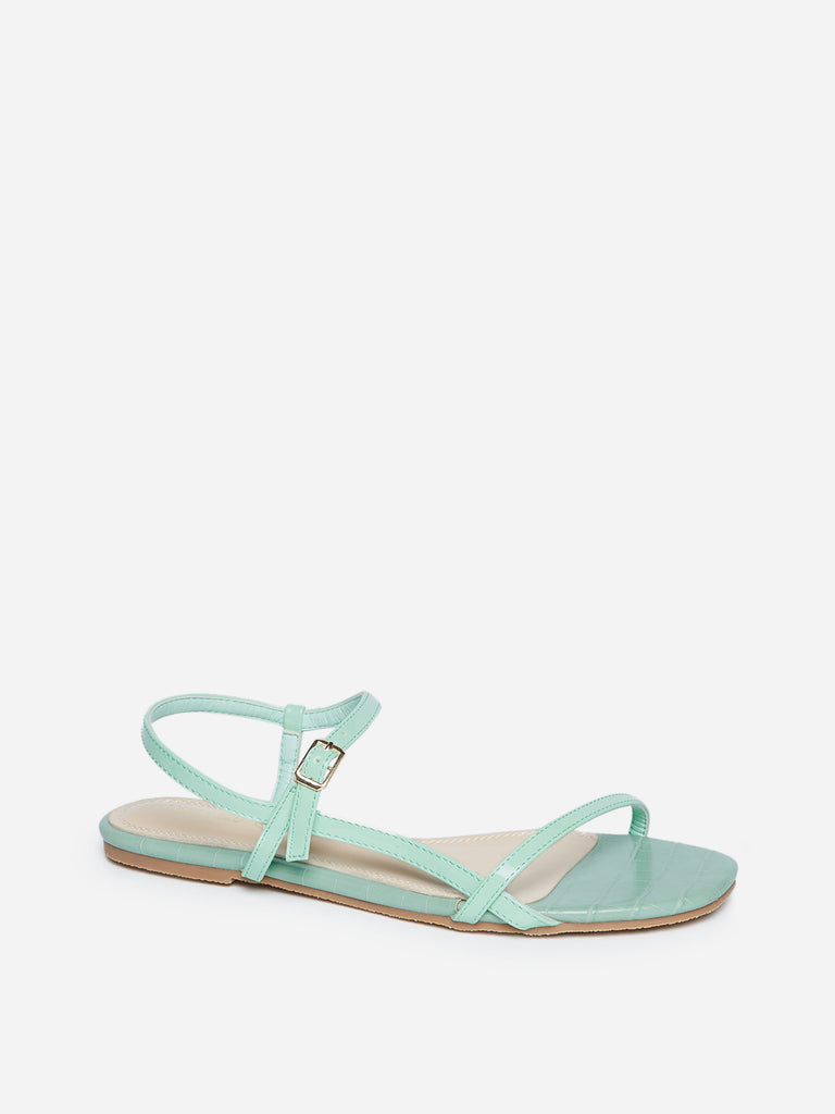 LUNA BLU Mint Crocodile Pattern Sandals