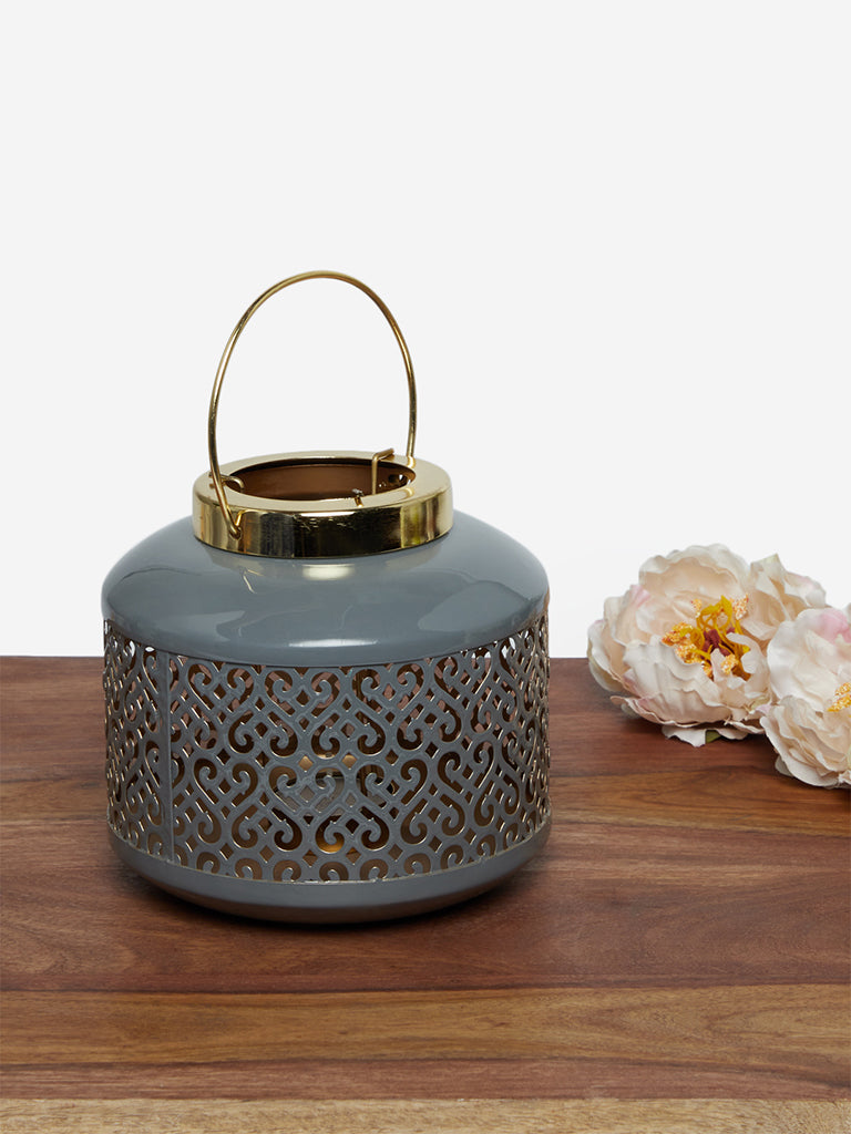 Westside Home Grey Candle Stand Lacquer Lantern