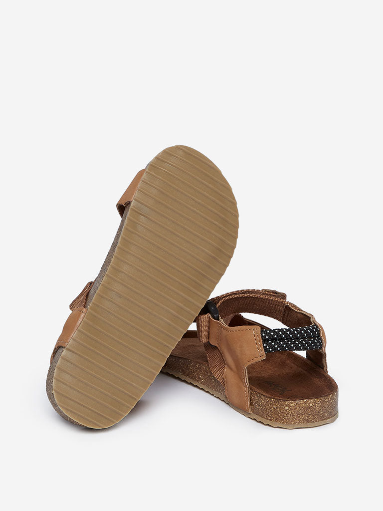 Yellow Kids Tan Criss-Cross Strapped Sandals
