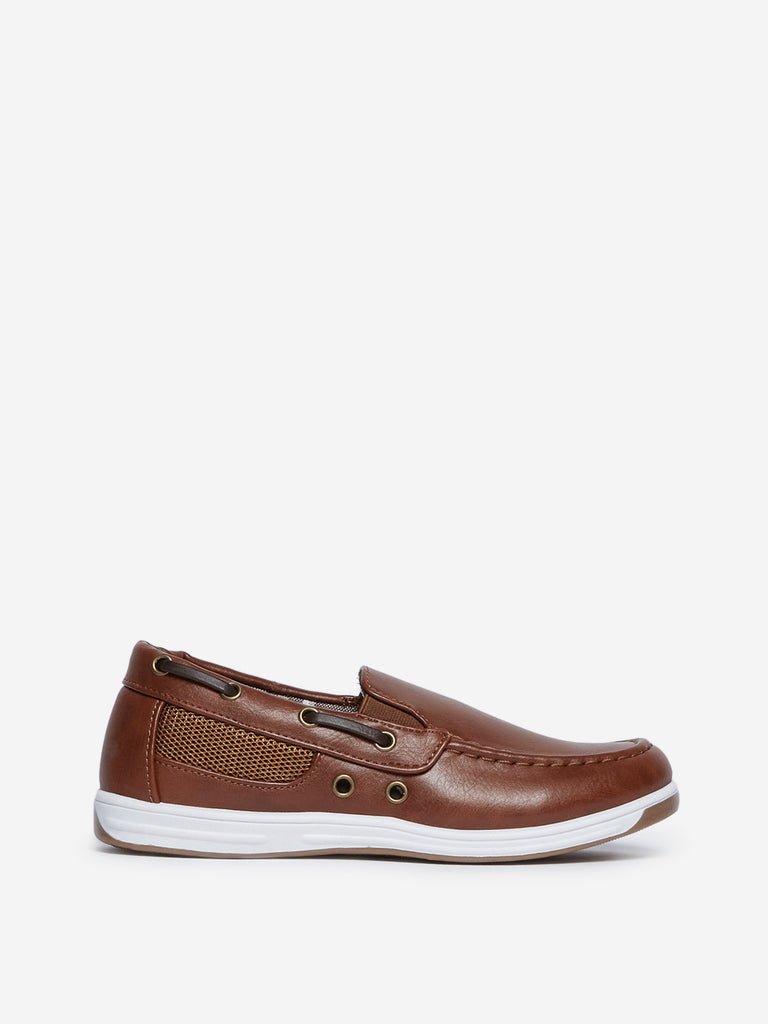 Yellow Kids Tan Faux-Leather Loafers