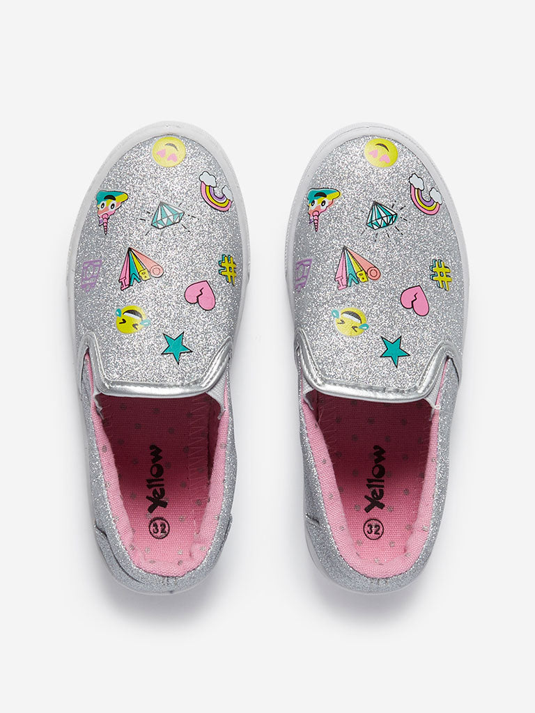 Yellow Kids Silver Glittering Slip-On Shoes