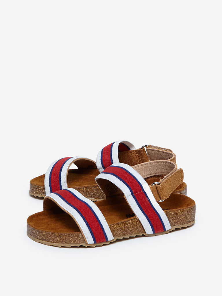 Yellow Brown Striped Sandals