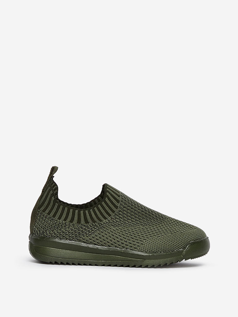 Yellow Kids Olive Knit Slip-On Sneakers