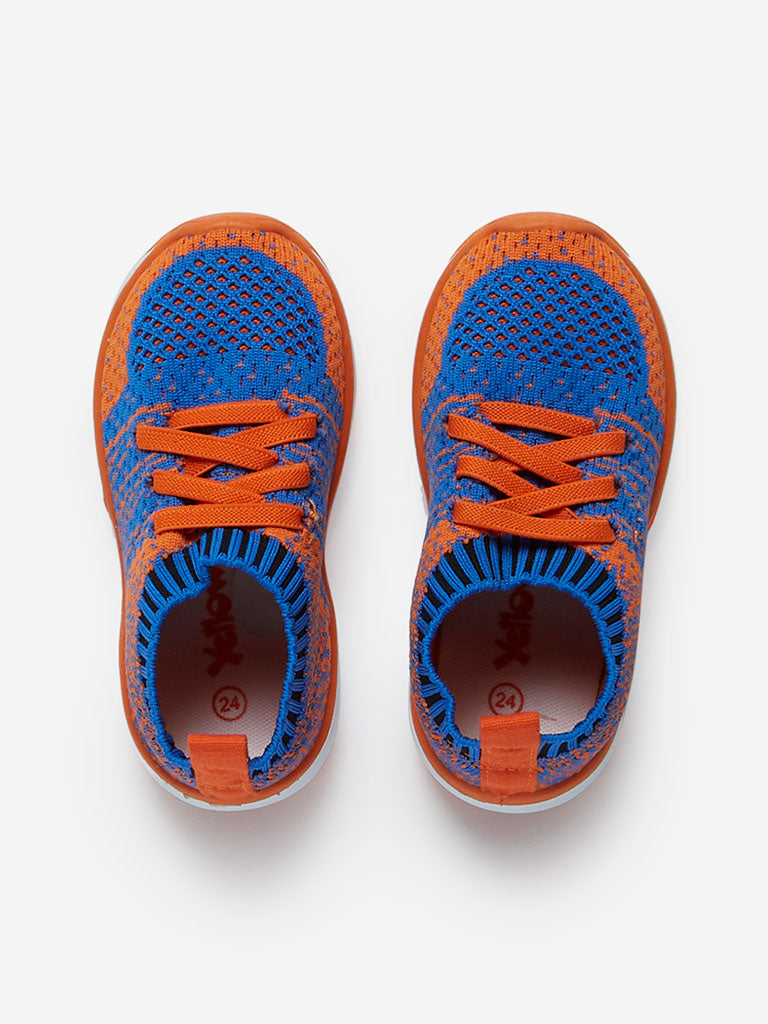 Yellow Kids Blue Knitted Lace-Up Sneakers