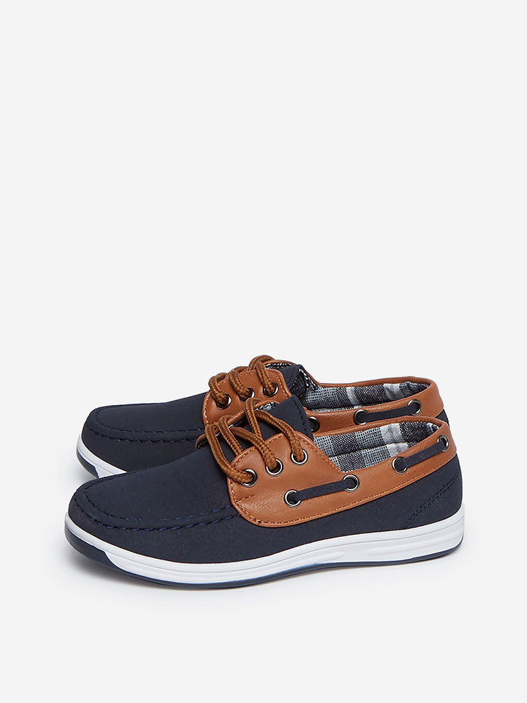 Yellow Kids Navy Faux-Suede Boat Shoes