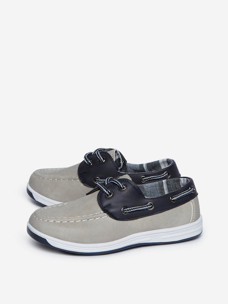 Yellow Kids Grey Lace-Up Boat Shoes