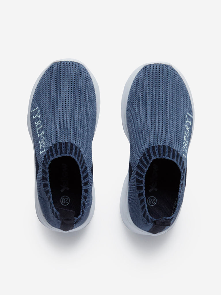 Yellow Kids Blue Knitted Slip-On Loafers