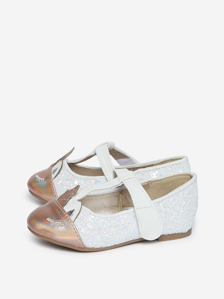 Yellow Kids White Unicorn Detailed Ballet Flats