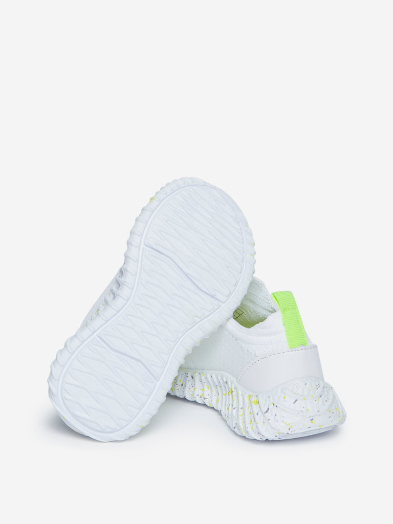 Yellow Kids White Lace-Up Knit Sneakers