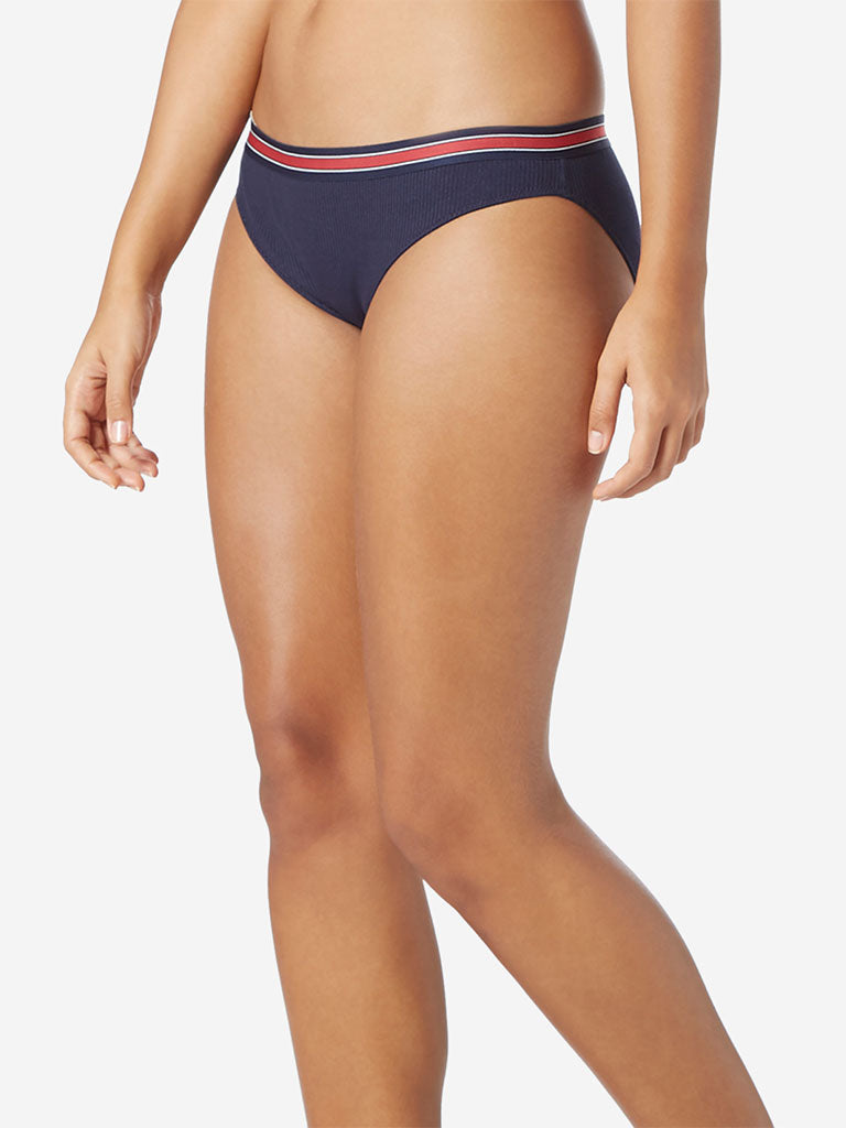 Wunderlove Navy Superstar Ribbed Briefs