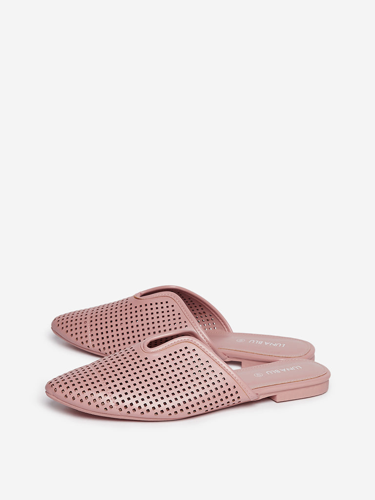 LUNA BLU Light Pink Laser-Cut Detailed Mules