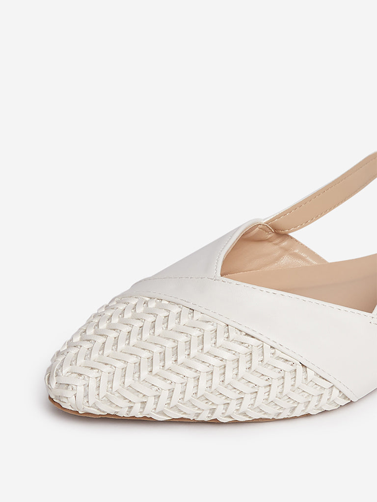 LUNA BLU White Weave-Detailed Flats