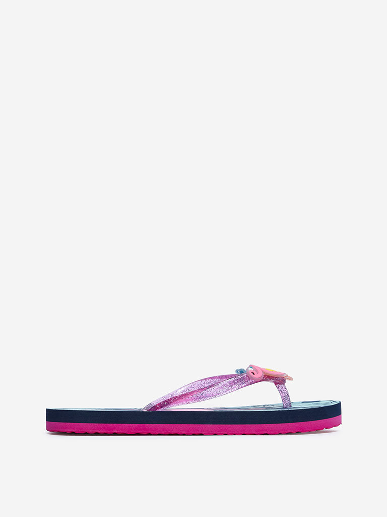 Yellow Navy Flamingo Flip-Flops