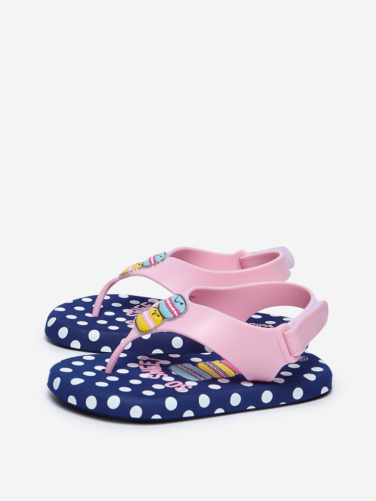 Yellow Navy Polkadot And Macaroon Design Sandals